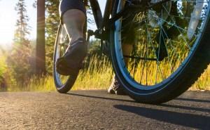Ground level photo of bicyclist