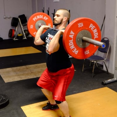 David Rief doing a power clean