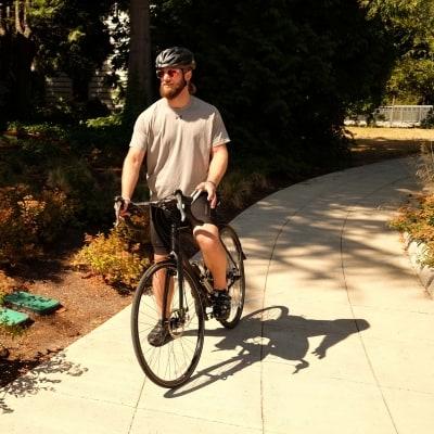 Jordan riding a bike